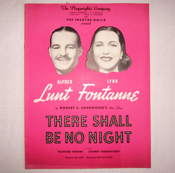 Playbill for There Shall Be No Night by Robert E. Sherwood at Plaid Pearls