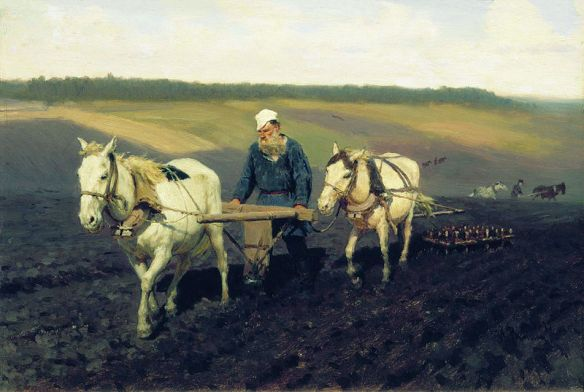 Tolstoy Ploughing by Ilya Repin, 1887