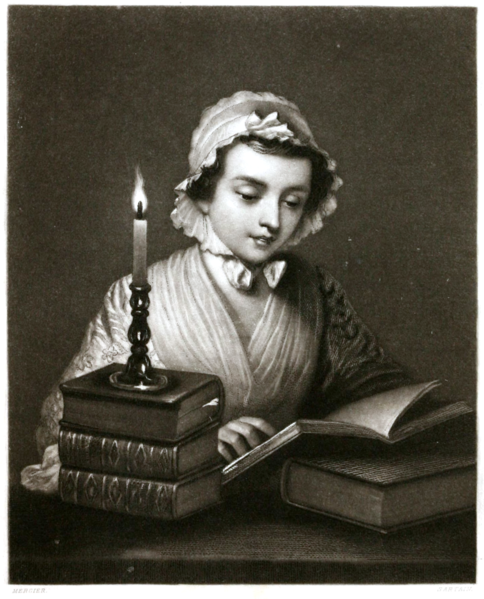 Engraving of a woman reading by candlelight by John Sartain, after a painting by Philippe Mercier 1854
