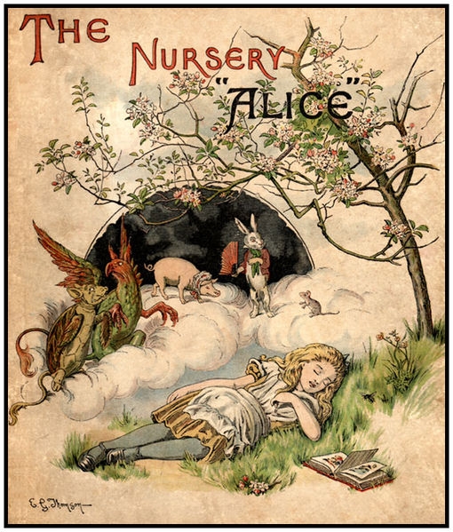 E. Gertrude Thomson Cover Illustration for the Nursery Alice by Lewis Carroll, 1890