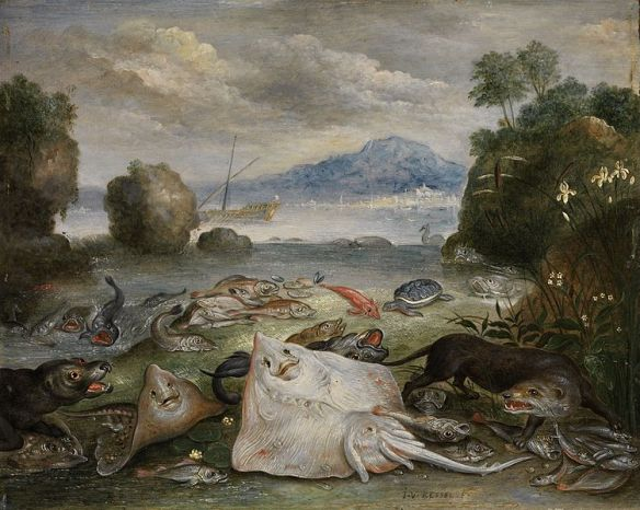 Marine animals, fish and otters on the beach overlooking a bay with sailing boat and mountain in the distance by  Jan van Kessel the Elder