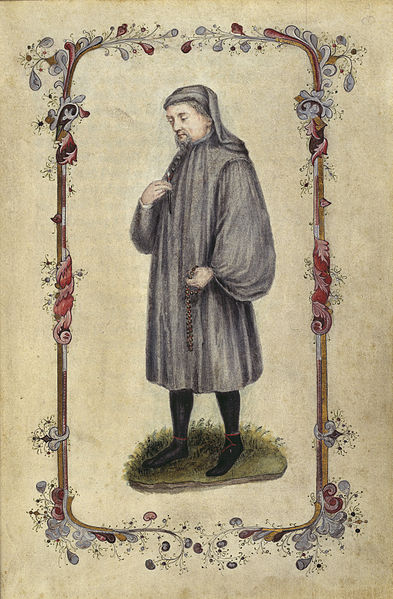 Geoffrey Chaucer. Frontispiece for The Canterbury Tales, 1478