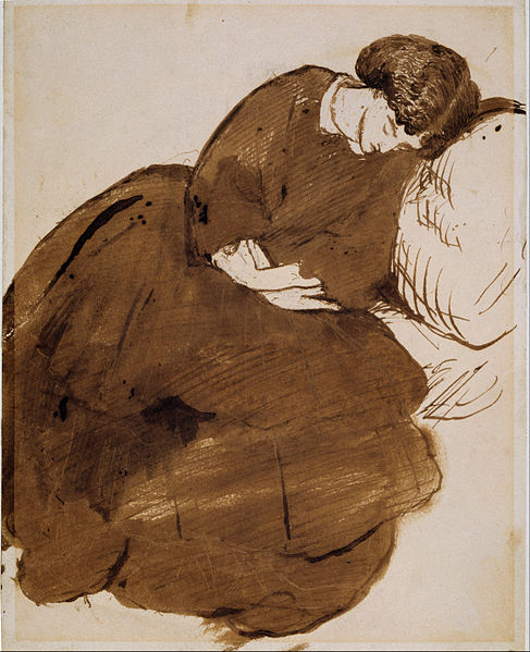 Portrait of Jane Morris asleep on a sofa by Dante Gabriel Rossetti, 1869-1871