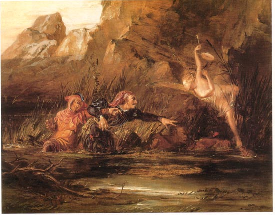 Ariel and Caliban by William Bell Scott, 1865