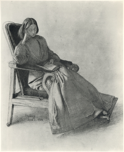 Drawing of Elizabeth Siddal Reading by Dante Gabriel Rossetti, June 1854