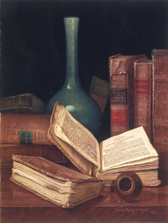 The Bookworm's Table by Claude Raguet Hirst, circa 1890 Brooklyn Museum