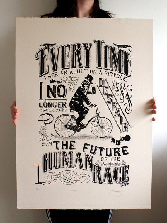 H.G. Wells Bicycle Print by Barry D. Bulsara