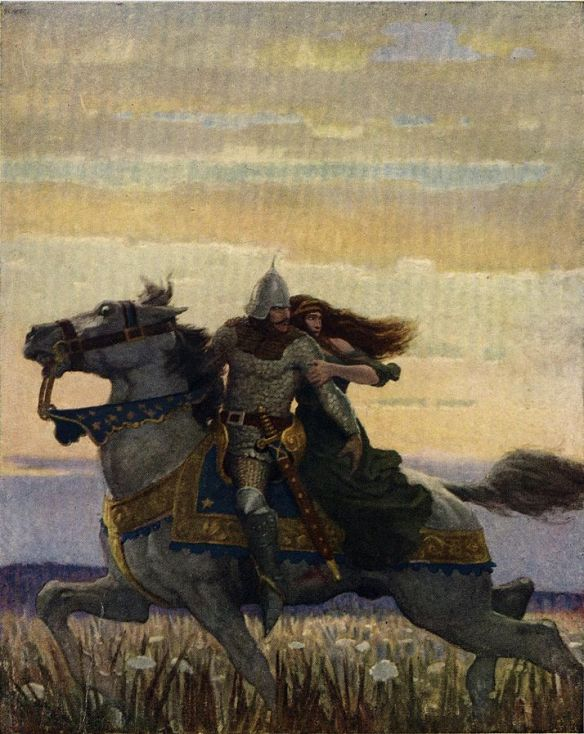 N.C. Wyeth illustration of Launcelot and Guinevere from The Boy's King Arthur.