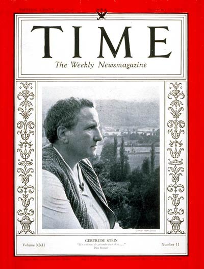 Gertrude Stein on the cover of the 11 September 1933 issue of TIME Magazine