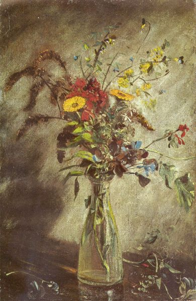 Flowers in a glass vase, study by John Constable, circa 1814