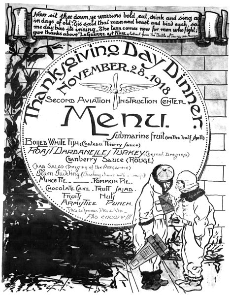 Thanksgiving Day Menu, 1918