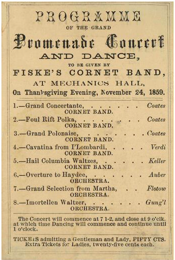 Thanksgiving Evening Concert, 1859