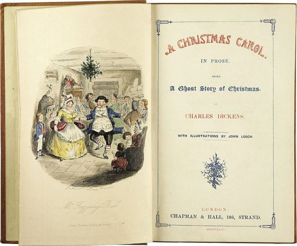 First Edition Title Page of A Christmas Carol. Illustrations by John Leech, 1843
