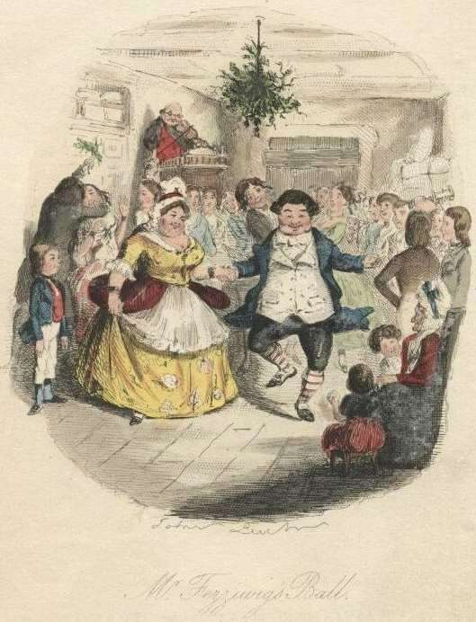 Illustration of Mr. Fezziwig's Ball by John Leech. First Edition of A Christmas Carol, 1843.