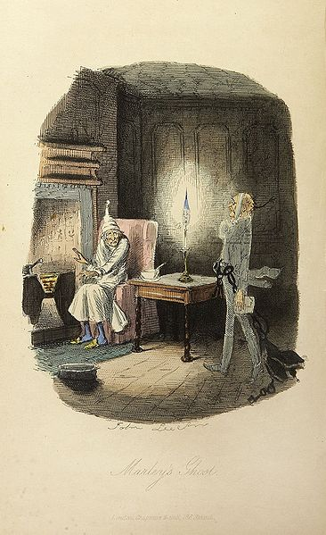 Illustration of Scrooge and Marley's Ghost by John Leech. First Edition of A Christmas Carol, 1843.