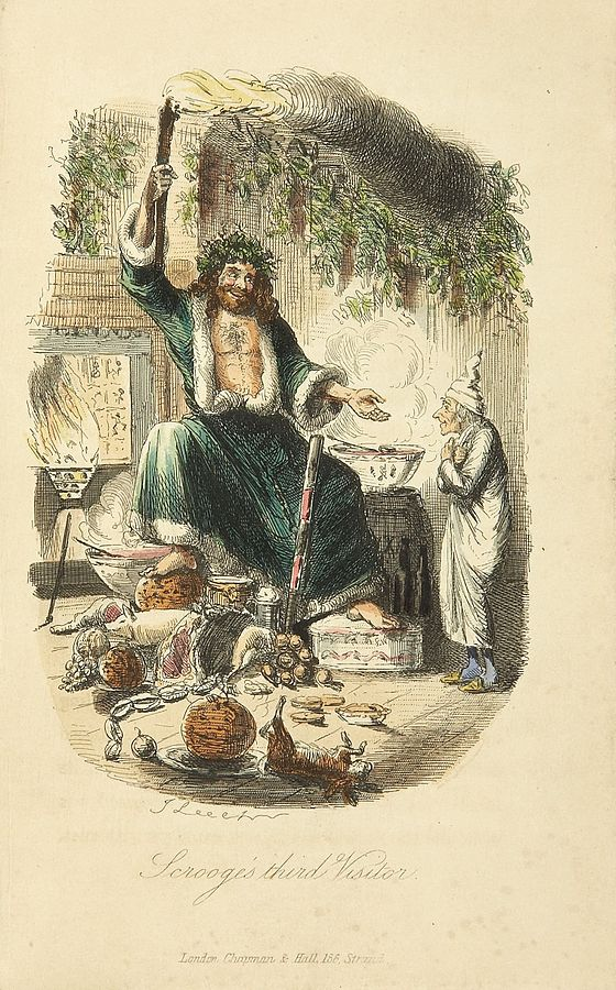 Scrooge's Third Visitor. Illustration by John Leech, from the First Edition of A Christmas Carol. 1843.