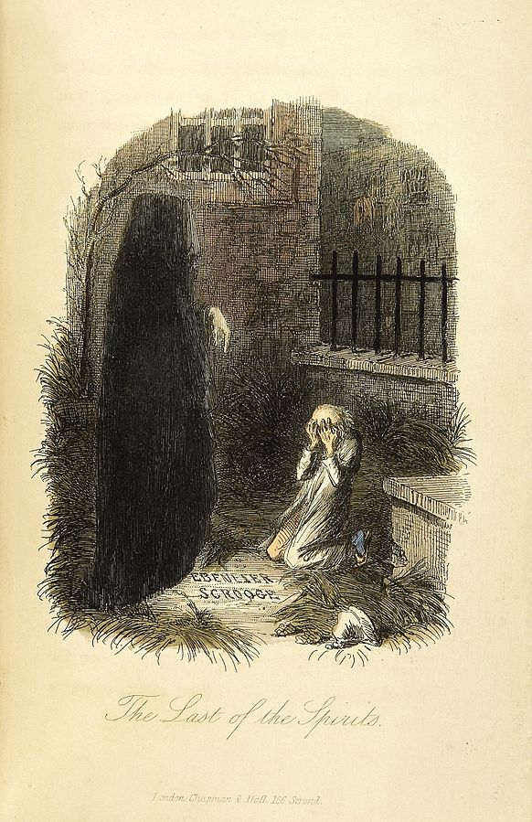 The Last of the Spirits by John Leech. From the First Edition of A Christmas Carol, 1843.