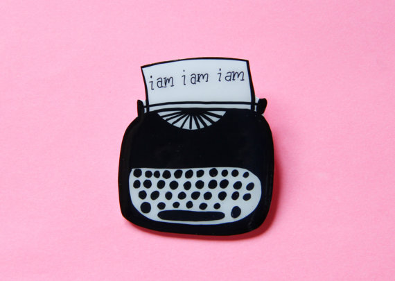 Sylvia Plath Typewriter Brooch by Modern Girl Blitz. $15.00
