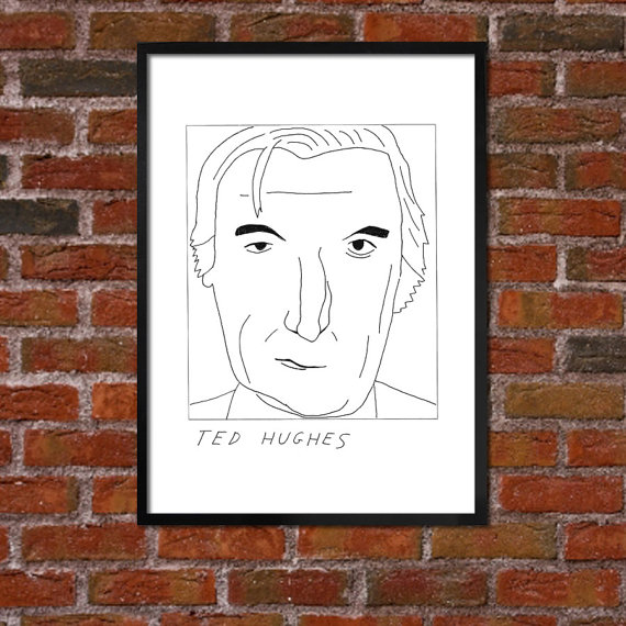 Ted Hughes Literary Poster by Badly Drawn Authors. $10.00+