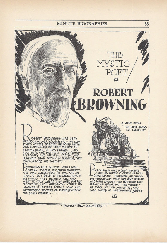 Vintage Robert Browning Art Print at Vintage Buttercup. $12.00