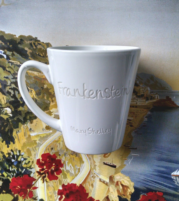 Mary Shelley Frankenstein Mug by Pen Endeavors. $16.00.