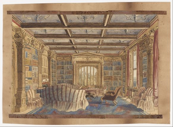 The Library at Dingestow by Charlotte Bosanquet, 1840s.