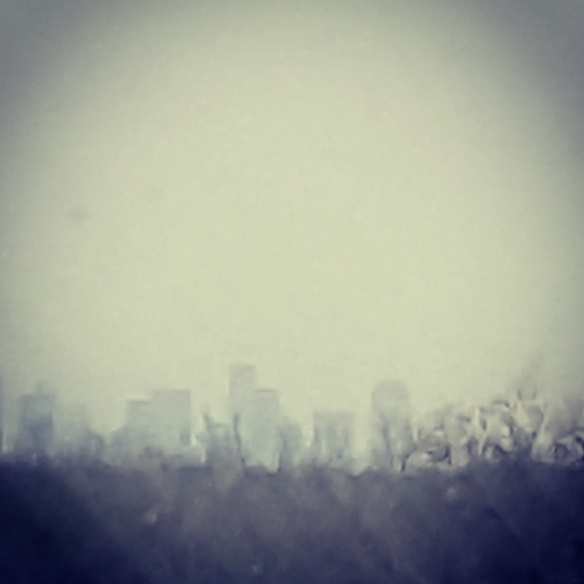 Ghostly Dallas skyline