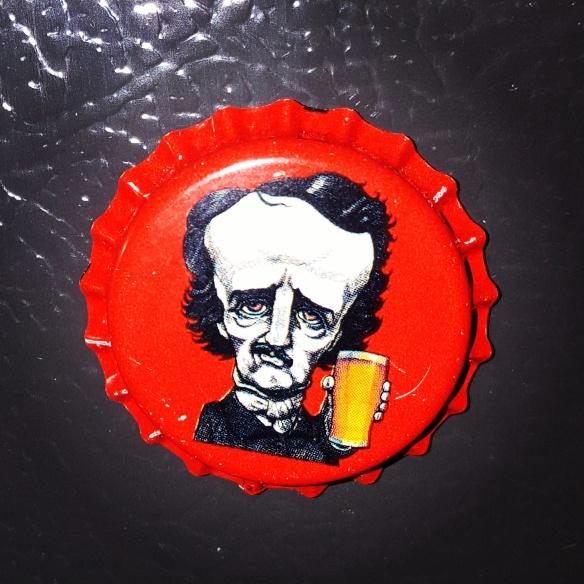 Poe bottle cap magnet