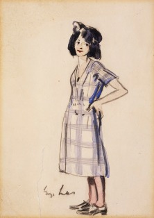 Girl in Checkered Dress by George Luks