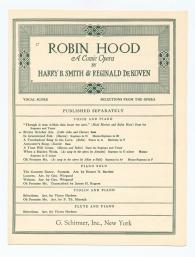 Robin Hood A Comic Opera
